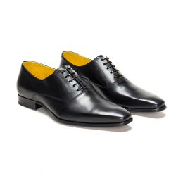 A custom made leather oxford shoe, black with black laces and black stitching, (Side 2 View)