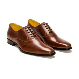 A Custom Made Leather Oxford Shoe, brown with black laces and brown stitching. (Side 2 View)