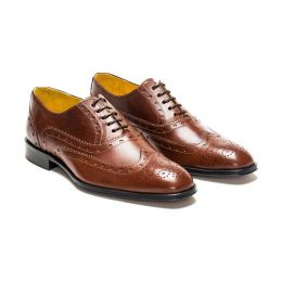 A Custom Made Brogue Leather Oxford Shoe, mahogany with brown laces and brown stitching. (Side 2 View)