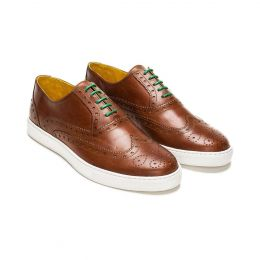 A custom made brogue leather oxford sneaker, brown with green laces and brown stitching. (Side 2 View)