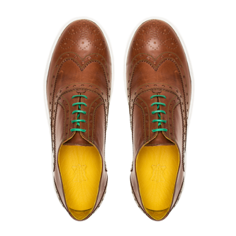 92 by Hacket, sneaker, full brogue, custom shoes for men, brown leather and green laces