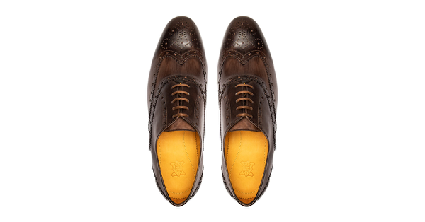 31 by Hercule Poirot, full brogue, brown oxford patinas, custom shoes for men